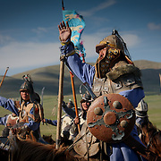 Ghengis Khan cavalry soldiers in historical uniform (, Mongolia - Aug. 2008) (Image ID: 080830-1122431a)