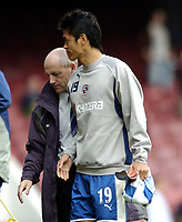 Photo: Olly Greenwood.<br />West Ham United v Reading. The Barclays Premiership. 01/10/2006. Reading's manager Steve Coppel and goalscorer Seol Ki-Hyeon at the end of the game