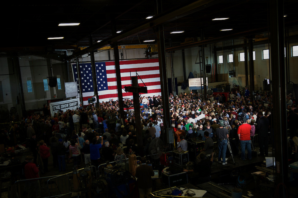 Republican Presidential candidate Mitt Romney holds a campaign rally at the Iron Shop in Broomall, Pennsylvania on April 4, 2012.