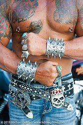 Ferrel Price of South Jordan, UT shows off his body and jewelry on Main Street during the annual Sturgis Black Hills Motorcycle Rally. SD, USA. August 9, 2014.  Photography ©2014 Michael Lichter.