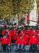 Veterans, incl BLESMA the limbless servicemens association, march past the Cenothaph and down Whitehall - Remembrance Sunday and Armistice Day commemorations fall on the same day, remembering the fallen of all conflicts but particularly the centenary of the end of World War One.