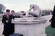 Three senior secondary schoolboys on educational trip at Versaiiles, France, c 1960