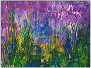"""'SECRET GARDEN' . 52"""" x 68"""" (framed size). Acrylic and inks on Canvas . 2019 <br /> <br /> Artist Notes: Secret Garden' literally glows and it's thru a process that took over a month to create. It started with a loose, 15' sheet of canvas, on the floor of my studio. Working on my hands and knees, 'wet on wet,' using inks and liquid acrylic paint, I worked with these mediums adding various other items, twigs, leaves, feathers, etc., I would then roll and tie them up tight and left them in a corner for a few days. I'd unroll them, repeat this process until I achieved the type of texture that I wanted.<br /> When the texture was just right, I lifted the canvas onto a very large easel to start weeks of hand work.<br /> Oh, back the glow. I decided to hand work the canvas in the old masters style of adding glazes (clear, very subtle layers) over and over throughout the painting. This achieves a richness and depth and most important, light that refracts thru the painting. The visual effect is so subtle that most can't really tell why they are so drawn into the painting. I believe it is these countless layers of ever so subtle shades and hues that reveal these wonderful little nooks and crannies of a secret garden."""