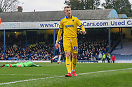 AFC Wimbledon striker Joe Pigott (39) celebrating after scoring goal to make it 0-1 during the EFL Sky Bet League 1 match between Southend United and AFC Wimbledon at Roots Hall, Southend, England on 16 March 2019.
