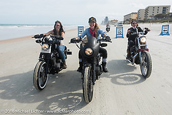"""The Iron Lillies Daneille Basualdo, Leticia Cline and Kissa Von Addams of the """"Iron Lillies"""" riding on Daytona Beach during Daytona Bike Week 75th Anniversary event. FL, USA. Thursday March 3, 2016.  Photography ©2016 Michael Lichter."""