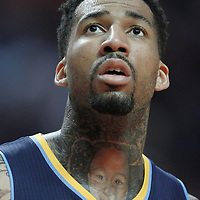 26 March 2012: Denver Nuggets small forward Wilson Chandler (21) rests during the Denver Nuggets 108-91 victory over the Chicago Bulls at the United Center, Chicago, Illinois, USA. NOTE TO USER: User expressly acknowledges and agrees that, by downloading and or using this photograph, User is consenting to the terms and conditions of the Getty Images License Agreement. Mandatory Credit: 2012 NBAE (Photo by Chris Elise/NBAE via Getty Images)