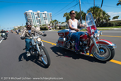 Nate Jacobs of Harlot Cycles in Illinois on his custom Biker Build-Off Shovelhead alongside Warren Lane out for a ride on his 1964 Panhead during Daytona Bike Week. FL, USA. March 14, 2014.  Photography ©2014 Michael Lichter.