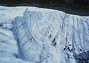 Alaska. Kennicott. Wrangell St Elias NP. Saint Elias guides and their students on an ice climbing expedition on the Root Glacier.