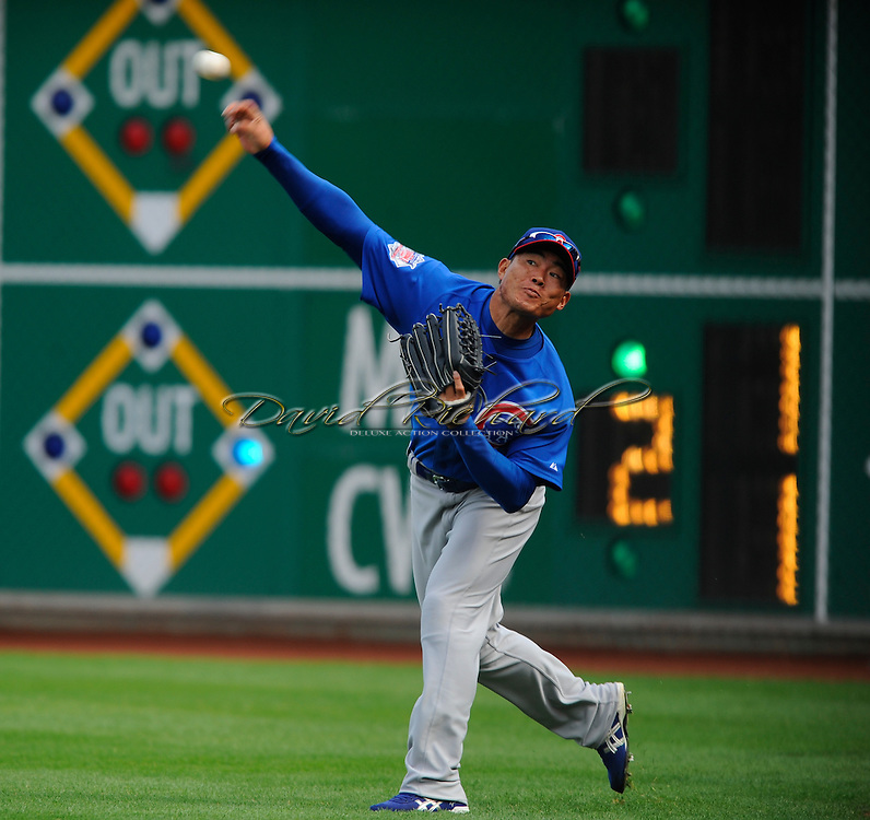 Chicago Cubs right fielder Kosuke Fukudome of Japan..The Chicago Cubs defeated the Pittsburgh Pirates 10-8 in 12 inning on April 7, 2008 at PNC Park on Opening Day. Chicago held an early 7-run lead, only to watch the Pirates come back to force extra frames.