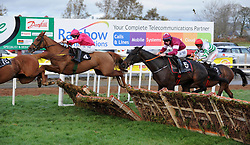 Brace Yourself and jockey Sean Flanagan (left) to win the Tayto Group Maiden Hurdle during day two of the Down Royal Festival.
