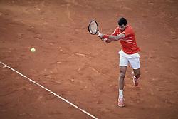 May 12, 2019 - Madrid, Spain - Novak Djokovic from Serbia during the Mutua Madrid Open Masters final match against Stefanos Tsitsipas from Greece on day eight at Caja Magica in Madrid, Spain. Novak Djokovic beat Stefanos Tsitsipas. May 12, 2019. (Credit Image: © A. Ware/NurPhoto via ZUMA Press)