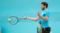 Tennis - 2019 Queen's Club Fever-Tree Championships - Day Seven, Sunday<br /> <br /> Men's Singles Final: Feliciano Lopez (ESP) Vs. Gilles Simon (FRA)<br /> <br /> Gilles Simon (FRA) ries to power his way with the forehand but loses the first set of his final on Centre Court.<br />  <br /> COLORSPORT/DANIEL BEARHAM