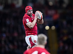 Cory Hill of Wales claims the lineout<br /> <br /> Photographer Simon King/Replay Images<br /> <br /> Six Nations Round 1 - Wales v Italy - Saturday 1st February 2020 - Principality Stadium - Cardiff<br /> <br /> World Copyright © Replay Images . All rights reserved. info@replayimages.co.uk - http://replayimages.co.uk