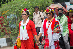 April 14, 2018 - Dhaka, Bangladesh - The Faculty of Fine Arts of Dhaka University on Saturday brought out the 'Mangal Shobhajatra' (a traditional parade)wheretens of thousands of people from all walks of life joined to celebrate Pahela Baishakh, the first day of Bengali new year 1425. (Credit Image: © Tahir Hasan/Pacific Press via ZUMA Wire)