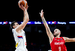 Dragan Milosavljevic of Serbia vs David Vojvoda of Hungary during basketball match between National Teams of Serbia and Hungary at Day 11 in Round of 16 of the FIBA EuroBasket 2017 at Sinan Erdem Dome in Istanbul, Turkey on September 10, 2017. Photo by Vid Ponikvar / Sportida