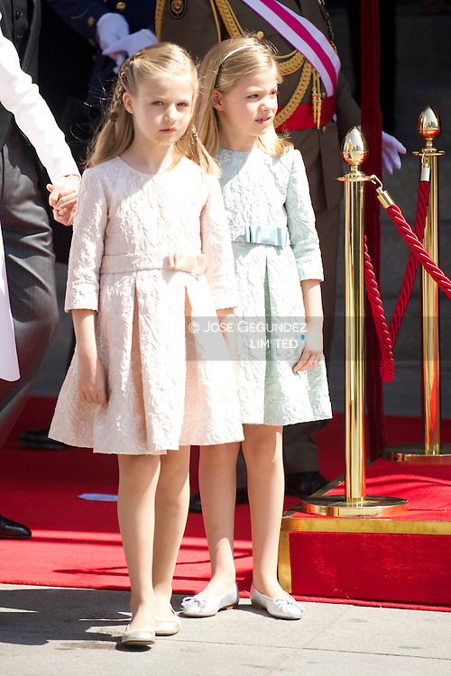 King Felipe VI of Spain, Queen Letizia of Spain, Princess of Asturias, Leonor, and Princess Sofia attends a Military Parade at the Congress for the crowing on June 19, 2014 ahead of a joint session of parliament.
