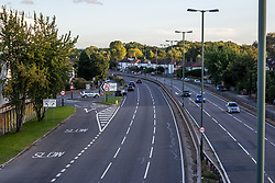 Licensed to London News Pictures. 27/09/2021. Dorking, UK. A very quiet rush hour on the A3 Kingston Bypass south-west London this evening (18:01), a major road in and out of the Capital and usually synonymous with long tailbacks as motorists continue to struggle to find petrol stations with fuel. Large queues have formed at petrol stations across the country over the weekend with many running out of fuel as oil giants struggle to maintain deliveries due to the lack of HGV drivers. Photo credit: Alex Lentati/LNP