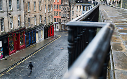 Victoria Street , Edinburgh Old Town. 6 February 2021.Empty street during covid-19 lockdown, Scotland, UK