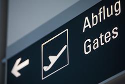 THEMENBILD, Airport Muenchen, Franz Josef Strauß (IATA: MUC, ICAO: EDDM), Der Flughafen Muenchen zählt zu den groessten Drehkreuzen Europas, rund 100 Fluggesellschaften verbinden ihn mit 230 Zielen in 70 Laendern, im Bild Hinweisschild Abflug Gates // THEME IMAGE, FEATURE - Airport Munich, Franz Josef Strauss (IATA: MUC, ICAO: EDDM), The airport Munich is one of the largest hubs in Europe, approximately 100 airlines connect it to 230 destinations in 70 countries. picture shows: Sign Departure Gates, Munich, Germany on 2012/05/06. EXPA Pictures © 2012, PhotoCredit: EXPA/ Juergen Feichter