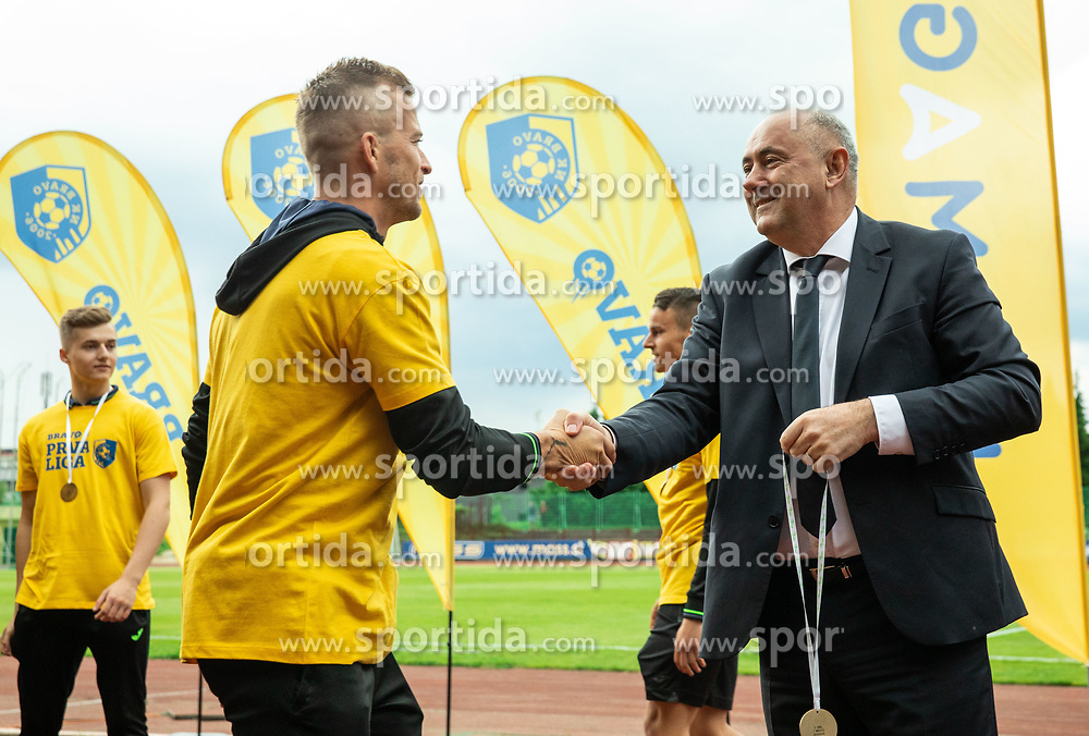 Alen Krcic and Radenko Mijatovic during celebration of NK Bravo, winning team in 2nd Slovenian Football League in season 2018/19 after they qualified to Prva Liga, on May 26th, 2019, in Stadium ZAK, Ljubljana, Slovenia. Photo by Vid Ponikvar / Sportida