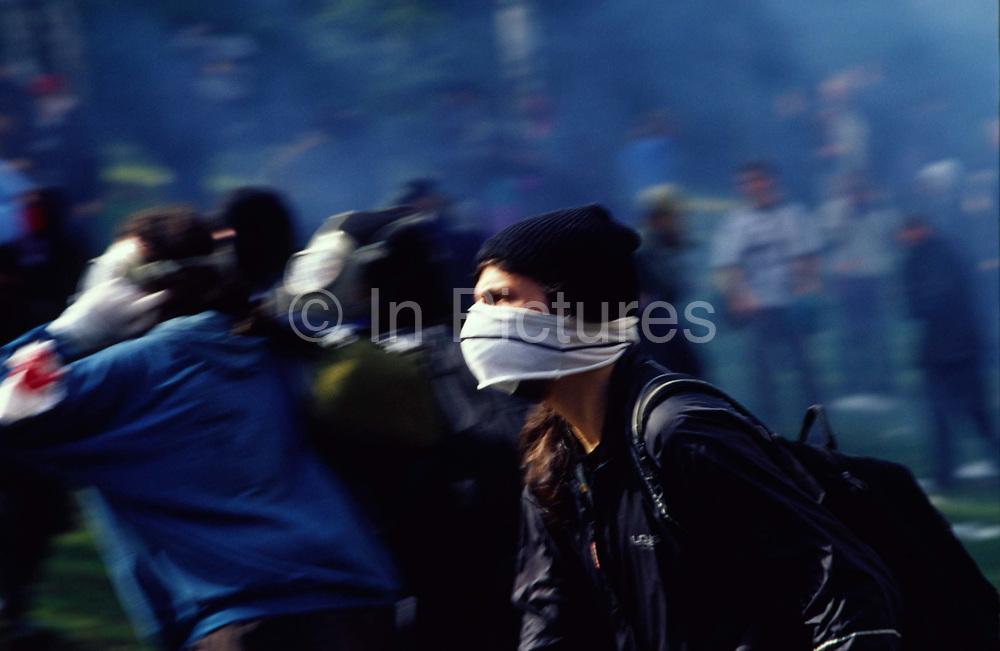 Demonstrators rush towards police lines during Anti Globalisation riots Prague, Czech Republic