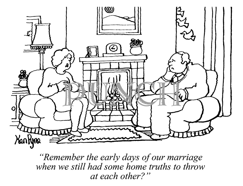 """Remember the early days of our marriage when we still had some home truths to throw at each other?"" (a married couple sit infront of their fireplace in their living room looking unhappy)"