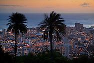 Sunset over Honolulu, Oahu, Hawaii