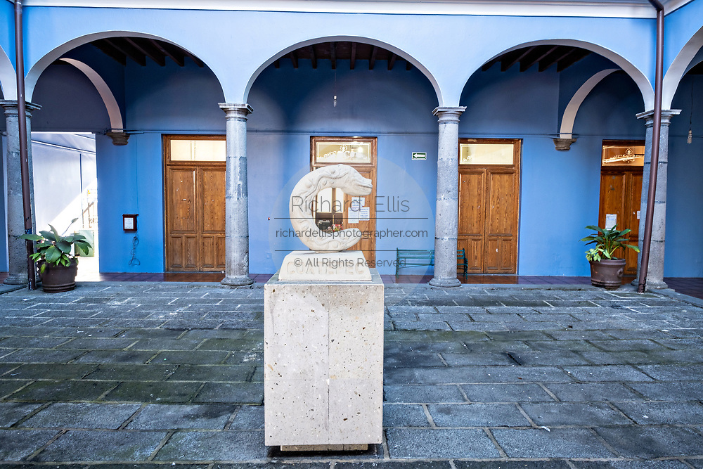 The city symbol of a snake in the colonial style City Hall courtyard in the central historic district of Coatepec, Veracruz State, Mexico.
