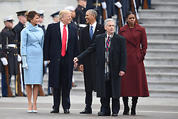 President Trump and First Lady Melania Trump escort outside the Capitol former President Barack Obama and former First Lady Michelle Obama. January 20, 2017 in Washington, DC. Photo by Lionel Hahn/AbacaUsa.com