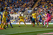 Anthony Stewart of Wycombe Wanderers clears the ball with a diving header during the EFL Sky Bet League 1 match between Oxford United and Wycombe Wanderers at the Kassam Stadium, Oxford, England on 30 March 2019.