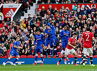 Football - 2021 / 2022 Pre-Season Friendly - Manchester United vs Everton - Old Trafford - Saturday 7th August 2021<br /> <br /> The Everton wall jumps but cannot prevent the free kick of Bruno Fernandes heading into the top corner for the third goal, at Old Trafford.<br /> <br /> COLORSPORT/ALAN MARTIN