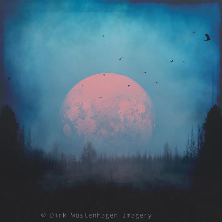 Moon over dark misty landscape