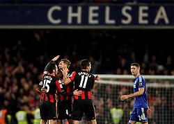 Bournemouth celebrate a famous win at Stamford Bridge against Chelsea - Mandatory byline: Robbie Stephenson/JMP - 05/12/2015 - Football - Stamford Bridge - London, England - Chelsea v AFC Bournemouth - Barclays Premier League