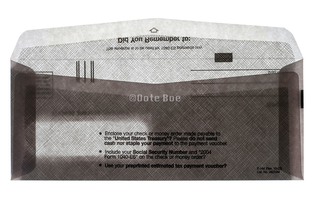 back view of an open USA Internal Revue Service envelope for estimated tax for Individuals