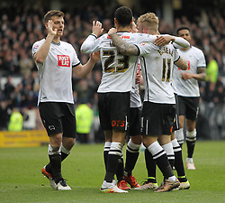Johnny Russell of Derby County (C) celebrates scoring his sides fourth goal - Mandatory by-line: Jack Phillips/JMP - 09/04/2016 - FOOTBALL - iPro Stadium - Derby, England - Derby County v Bolton Wanderers - Sky Bet Championship