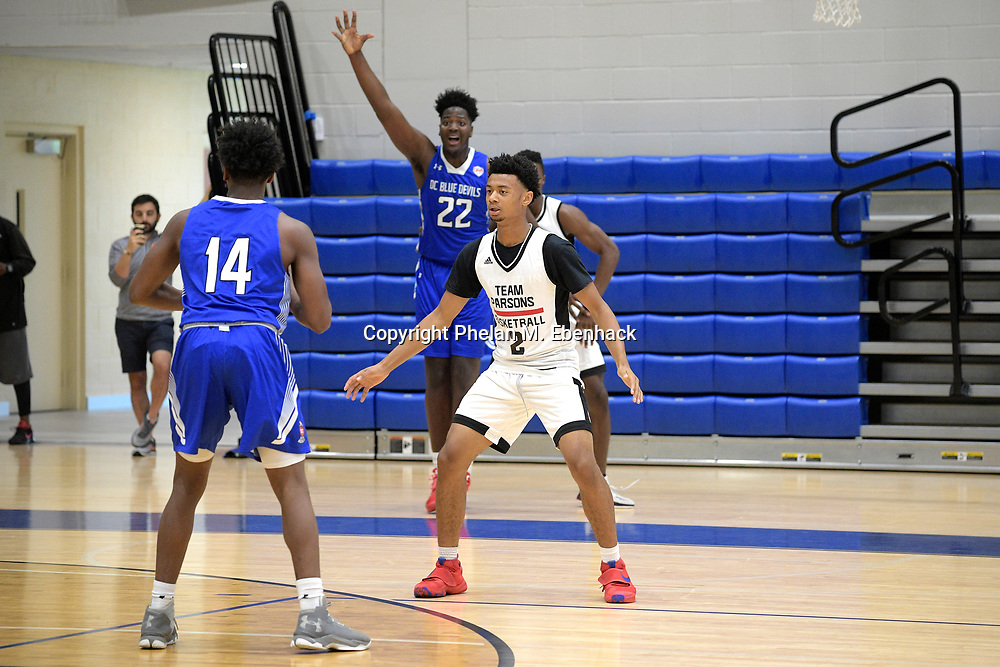 Team Parsons' Marseilles Caston (3) defends against the DC Blue Devils during the first half of a basketball game at the Source Hoops Festival in Orlando, Fla., Saturday, July 22, 2017. (Photo by Phelan M. Ebenhack)