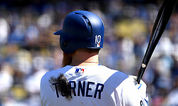 March 28, 2019 - Los Angeles, California, U.S. - Justin Turner #10 of the Los Angeles Dodgers against the Arizona Diamondbacks in the second inning of a MLB baseball game during Opening Day at Dodger Stadium on Thursday, March 28, 2019 in Los Angeles, California. (Credit Image: © Keith Birmingham/SCNG via ZUMA Wire)