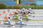 Eton Dorney, Windsor, Great Britain,..2012 London Olympic Regatta, Dorney Lake. Eton Rowing Centre, Berkshire[ Rowing]...Description;  Heat, Men's double Sculls: .Luka SPIK (b) , Iztok COP (s).LTU.M2X Rolandas MASCINSKAS (b) , Saulius .GBR M2X Bill LUCAS (b) , Sam TOWNSEND (s).NOR.M2X Nils Jakob HOFF (b) , Kjetil BORCH (s).FRA.M2X Julien BAHAIN (b) , Cedric BERREST (s).CAN M2X Michael BRAITHWAITE (b) , Kevin KOWALYK (s)    12:30:05  Tuesday  31/07/2012.[Mandatory Credit: Peter Spurrier/Intersport Images].