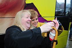 Nicola Sturgeon - Port Edgar-South Queensferry - 05-12-2019<br /> <br /> Nicola Sturgeon with the tour bus doing selfies<br /> <br /> (c) David Wardle | Edinburgh Elite media
