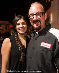 Klock Werks Vanessa Nay and Brian Klock at the Indian new bike reveal party at the Hilton Hotel during Daytona Bike Week. Daytona Beach, FL, USA. Friday March 10, 2017. Photography ©2017 Michael Lichter.