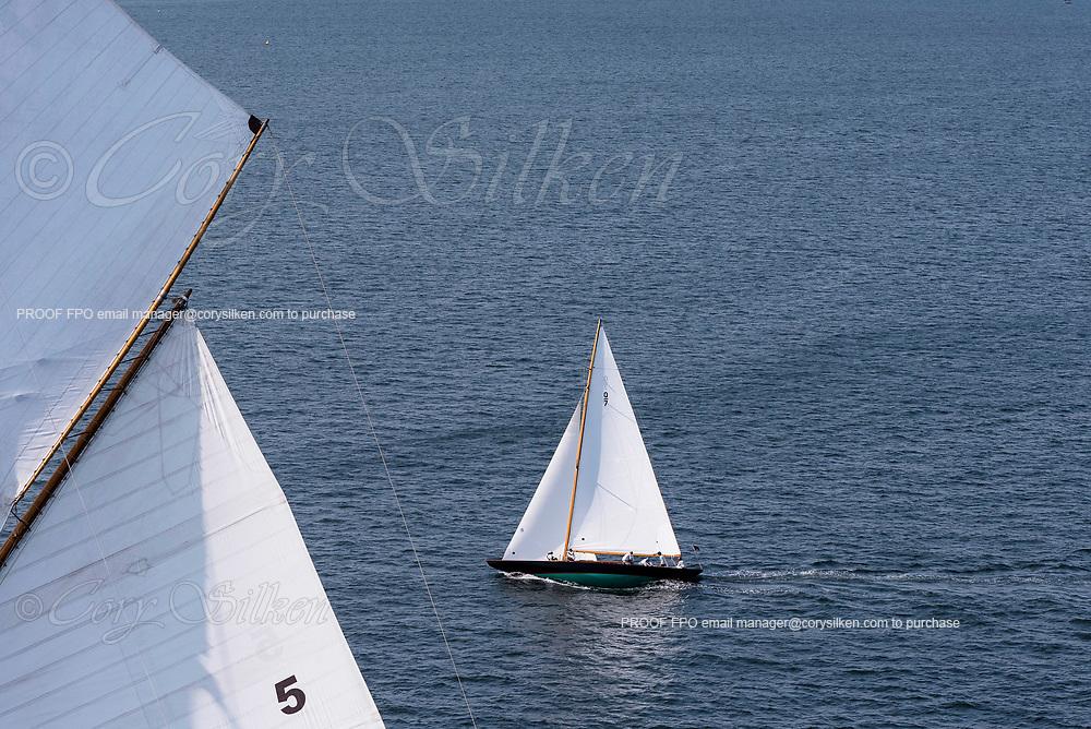 Falcon sailing in the Panerai Newport Classic Yacht Regatta, day one.