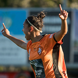 BRISBANE, AUSTRALIA - OCTOBER 30: Allira Toby of the Roar celebrates scoring a goal during the round 1 Westfield W-League match between the Brisbane Roar and Sydney FC at Spencer Park on November 5, 2016 in Brisbane, Australia. (Photo by Patrick Kearney/Brisbane Roar)