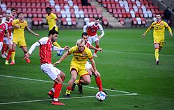 Jake Scrimshaw of Walsall under pressure from Conor Thomas of Cheltenham Town- Mandatory by-line: Nizaam Jones/JMP - 21/11/2020 - FOOTBALL - Jonny-Rocks Stadium - Cheltenham, England - Cheltenham Town v Walsall - Sky Bet League Two