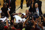 COPYRIGHT DAVID RICHARD.LeBron James was all smiles after Cleveland's win over Detroit..Detroit Pistons at Cleveland Cavaliers in Game 6 of the NBA Eastern Conference Finals, June 2, 2007.