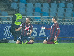 February 28, 2017 - San Sebastian, Spain - Match day of La Liga Santander 2016 - 2017 season between Real Sociedad and S.D Eibar, played Anoeta Stadium on Thuesday, March 28th, 2017. San Sebastian, Spain. 5 Escalante celebrate goal. (Credit Image: © Ion Alcoba/VW Pics via ZUMA Wire/ZUMAPRESS.com)