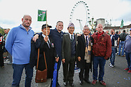 War veterans on Westminster Bridge during the Football Lads Alliance march between Park Lane and Westminster Bridge, London on 7 October 2017. Photo by Phil Duncan.