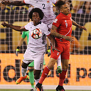 EAST RUTHERFORD, NEW JERSEY - JUNE 17:  Jose Paolo Guerrero #9 of Peru is challenged by Cristian Zapata #2 of Colombia  and Carlos Sanchez #6 of Colombia during the Colombia Vs Peru Quarterfinal match of the Copa America Centenario USA 2016 Tournament at MetLife Stadium on June 17, 2016 in East Rutherford, New Jersey. (Photo by Tim Clayton/Corbis via Getty Images)
