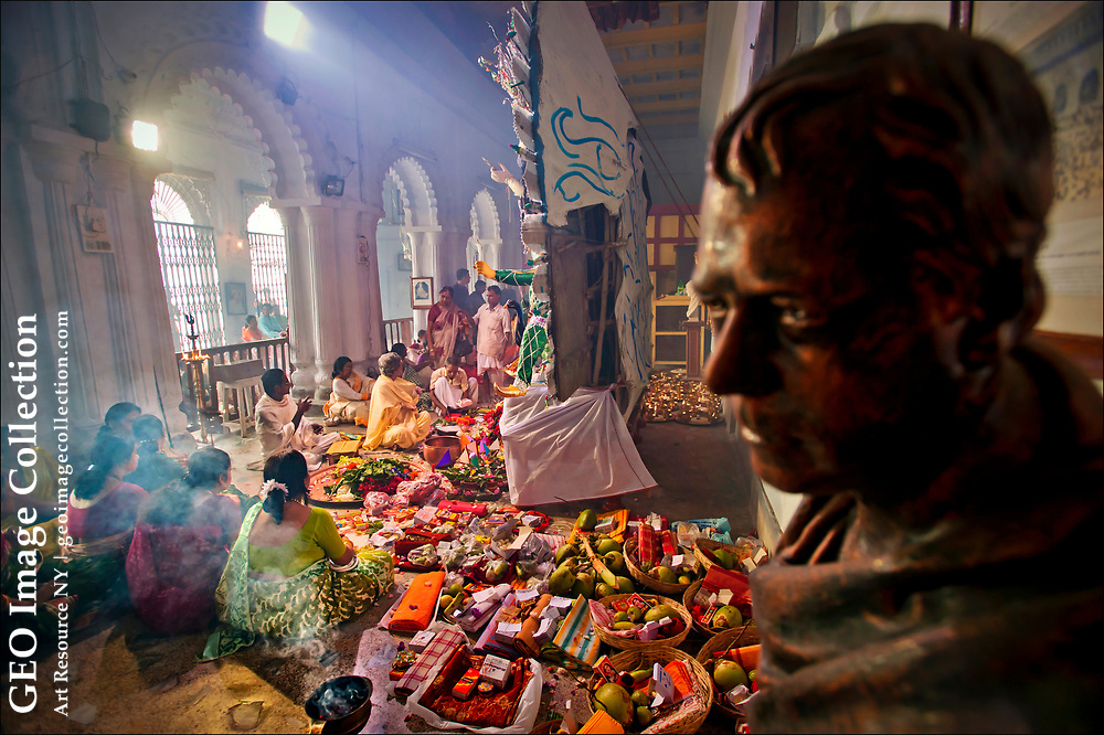 Descendants of Raja Nabkrisha Deb, forebearer of one of Kolkata's (Calcutta's) most aristocratic families during the British Raj, gather at the historic Sovabazar Rajbari, or King's Palace, to celebrate Durga Puja.  The elder Deb is said to have originated the celebration in 1757 to honor Lord Robert Clive after the British general ousted the French at the Battle of Plassey.