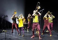 Perhaps Contraption, a progressive brass band, perform their theatical debut Nearly Human at the Pleasance, Edinburgh. Pic copyright: Terry Murden @edinburghelitemedia
