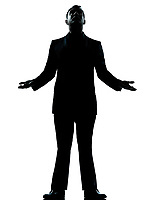 one caucasian business man hopeful looking up  silhouette standing Full length in studio isolated on white background